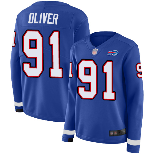 Bills #91 Ed Oliver Royal Blue Team Color Women's Stitched Football Limited Therma Long Sleeve Jersey