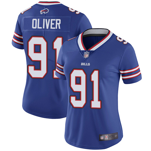 Bills #91 Ed Oliver Royal Blue Team Color Women's Stitched Football Vapor Untouchable Limited Jersey