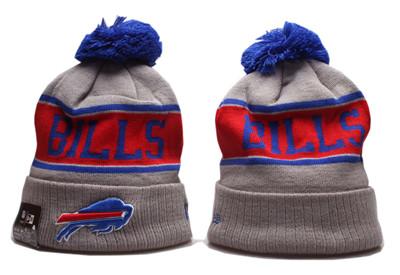 Bills Team Logo Gray Red Pom Knit Hat YP