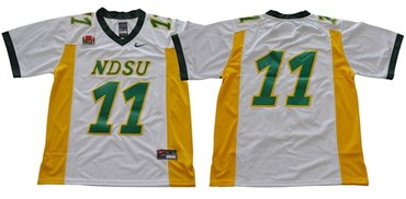 Bison #11 Carson Wentz White Limited Stitched NCAA Jersey
