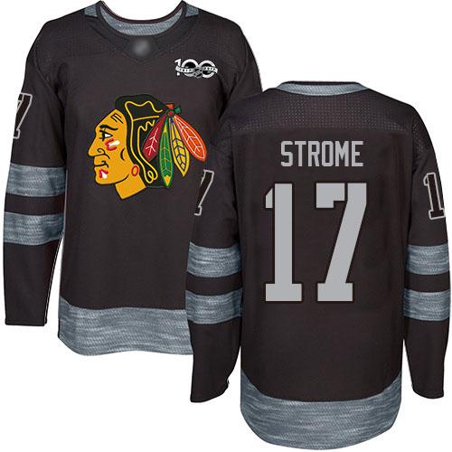 Blackhawks #17 Dylan Strome Black 1917-2017 100th Anniversary Stitched Hockey Jersey