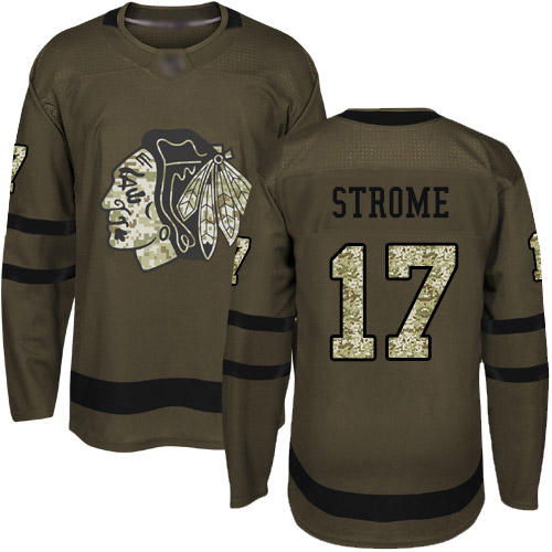 Blackhawks #17 Dylan Strome Green Salute to Service Stitched Hockey Jersey