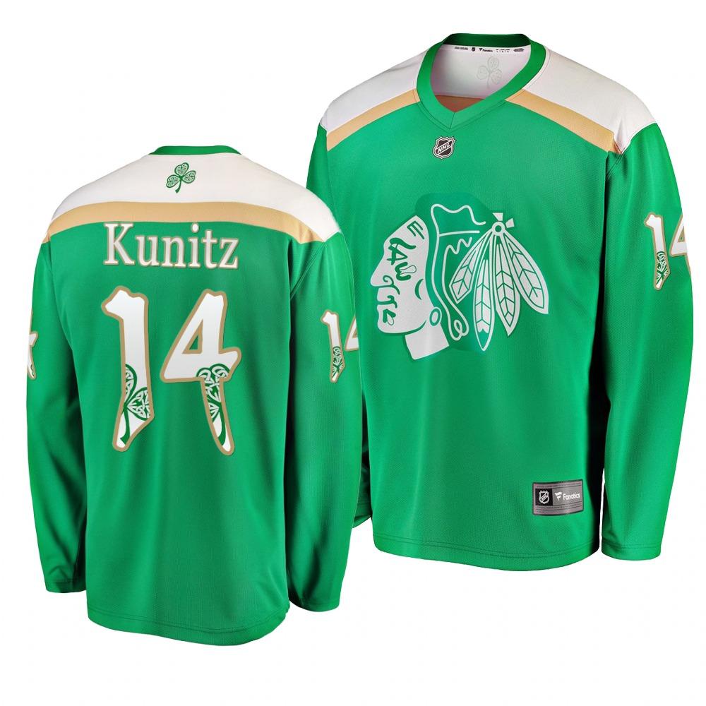 Blackhawks 14 Chris Kunitz Green 2019 St. Patrick's Day Adidas Jersey