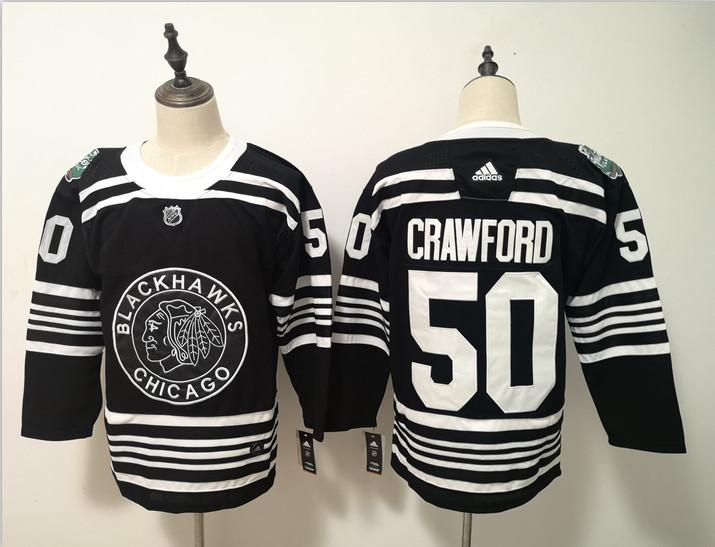Blackhawks 50 Corey Crawford Black 2019 Winter Classic Adidas Jersey