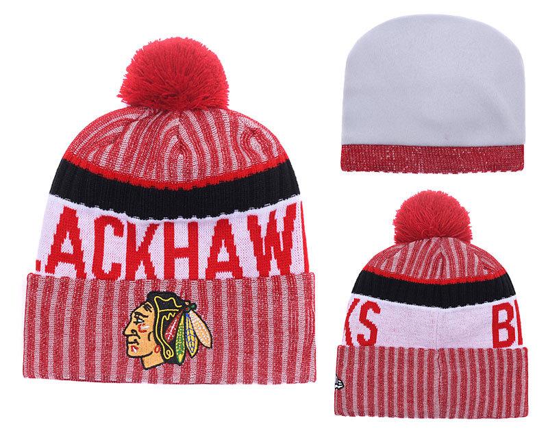 Blackhawks Team Logo Red Cuffed Knit Hat With Pom YD