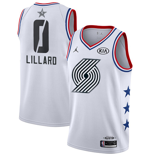 Blazers #0 Damian Lillard White Basketball Jordan Swingman 2019 All-Star Game Jersey
