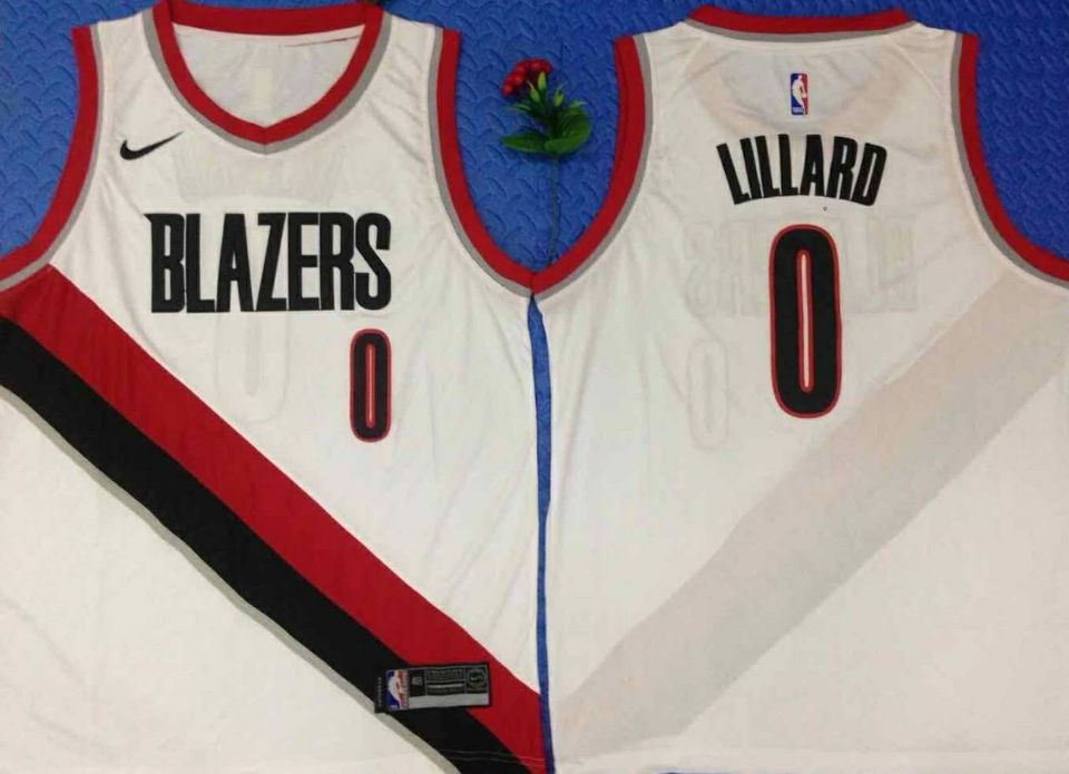 Blazers 0 Damian Lillard White City Edition Nike Swingman Jersey