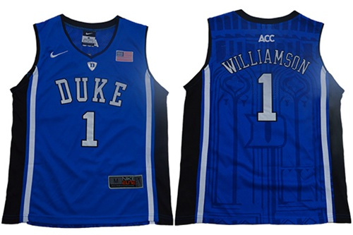 Blue Devils #1 Zion Williamson Blue Black Basketball Elite Stitched Youth College Jersey