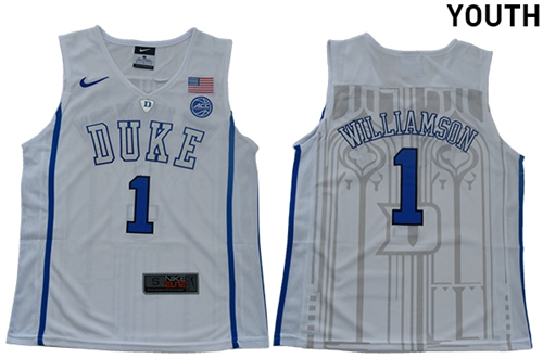 Blue Devils #1 Zion Williamson White Basketball Elite Stitched Youth College Jersey
