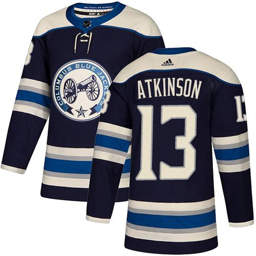 Blue Jackets #13 Cam Atkinson Navy Alternate Authentic Stitched Hockey Jersey