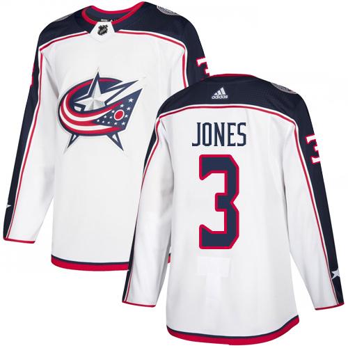 Blue Jackets #3 Seth Jones White Road Authentic Stitched Hockey Jersey