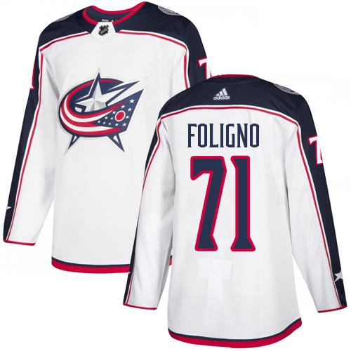 Blue Jackets #71 Nick Foligno White Road Authentic Stitched Hockey Jersey