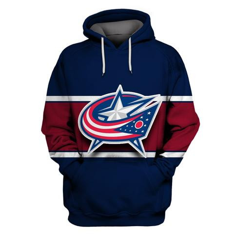 Blue Jackets Navy All Stitched Hooded Sweatshirt