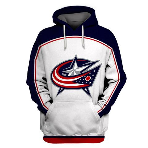 Blue Jackets White All Stitched Hooded Sweatshirt