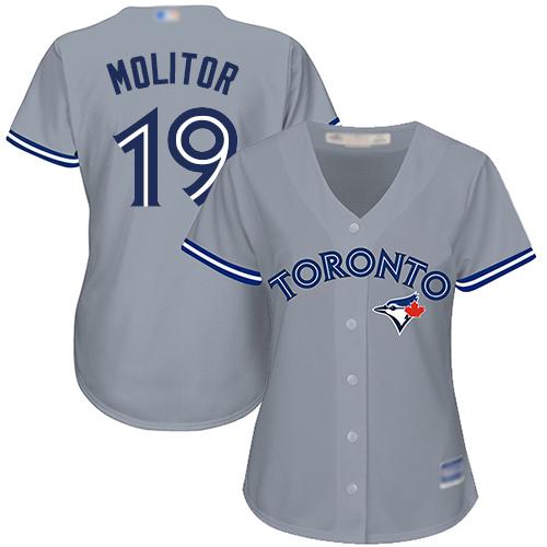 Blue Jays #19 Paul Molitor Grey Road Women's Stitched Baseball Jersey