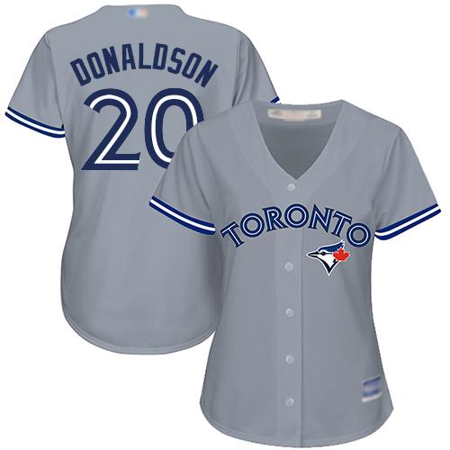 Blue Jays #20 Josh Donaldson Grey Road Women's Stitched Baseball Jersey