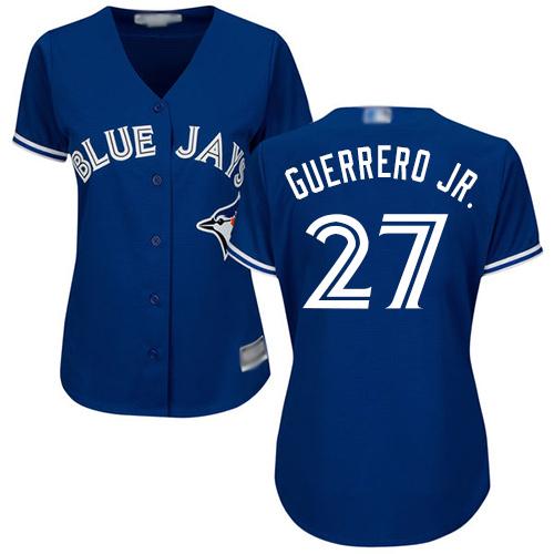 Blue Jays #27 Vladimir Guerrero Jr. Blue Alternate Women's Stitched Baseball Jersey