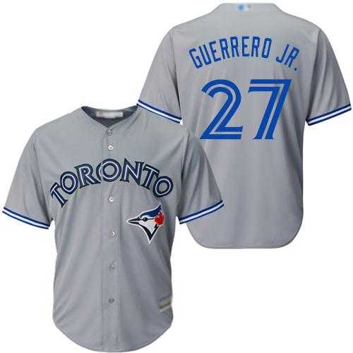 Blue Jays #27 Vladimir Guerrero Jr. Grey Cool Base Stitched Youth Baseball Jersey