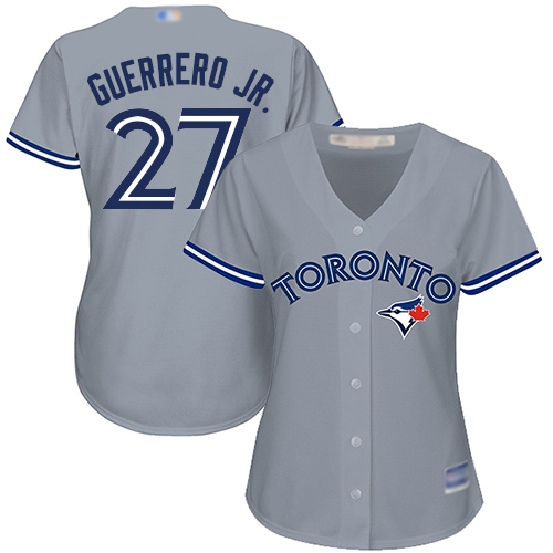 Blue Jays #27 Vladimir Guerrero Jr. Grey Road Women's Stitched Baseball Jersey