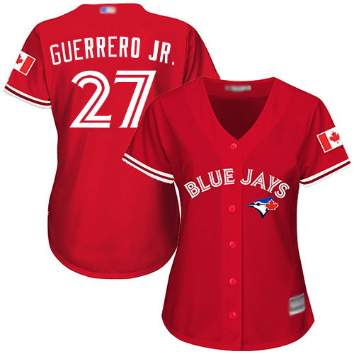Blue Jays #27 Vladimir Guerrero Jr. Red Canada Day Women's Stitched Baseball Jersey