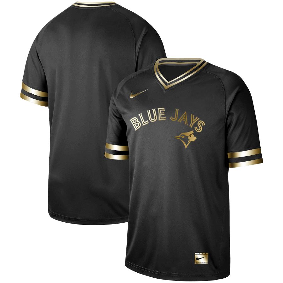 Blue Jays Blank Black Gold Nike Cooperstown Collection Legend V Neck Jersey