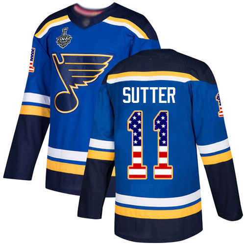 Blues #11 Brian Sutter Blue Home Authentic USA Flag Stanley Cup Final Bound Stitched Hockey Jersey