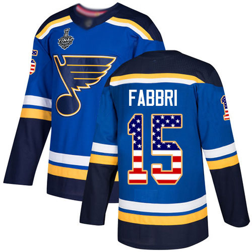 Blues #15 Robby Fabbri Blue Home Authentic USA Flag Stanley Cup Final Bound Stitched Hockey Jersey