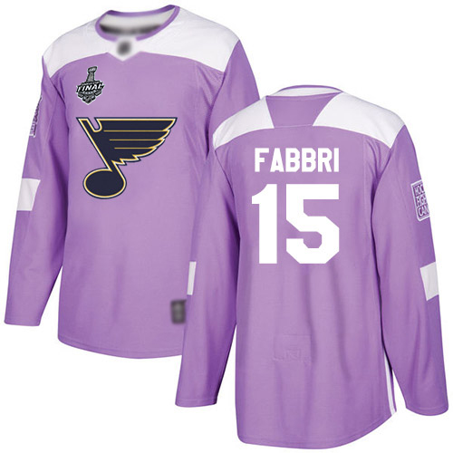 Blues #15 Robby Fabbri Purple Authentic Fights Cancer Stanley Cup Final Bound Stitched Hockey Jersey