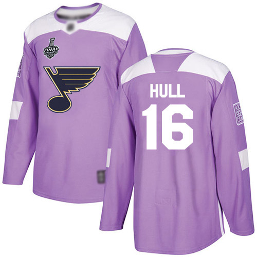 Blues #16 Brett Hull Purple Authentic Fights Cancer Stanley Cup Final Bound Stitched Hockey Jersey