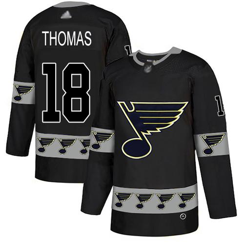 Blues #18 Robert Thomas Black Authentic Team Logo Fashion Stitched Hockey Jersey