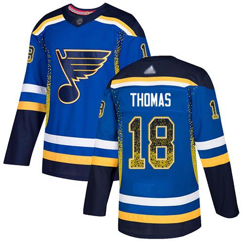 Blues #18 Robert Thomas Blue Home Authentic Drift Fashion Stitched Hockey Jersey