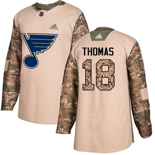 Blues #18 Robert Thomas Camo Authentic 2017 Veterans Day Stitched Hockey Jersey