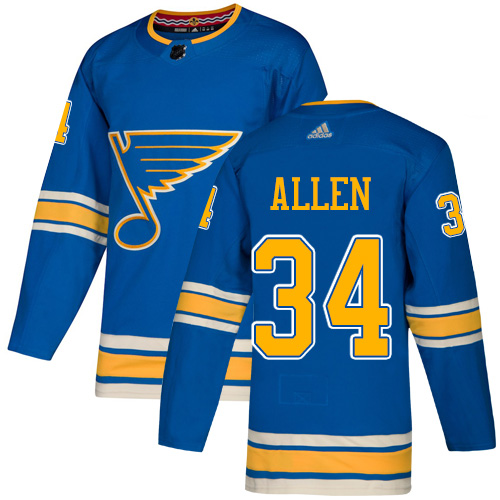 Blues #34 Jake Allen Blue Alternate Authentic Stitched Hockey Jersey