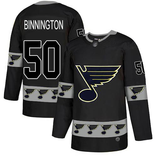 Blues #50 Jordan Binnington Black Authentic Team Logo Fashion Stitched Hockey Jersey