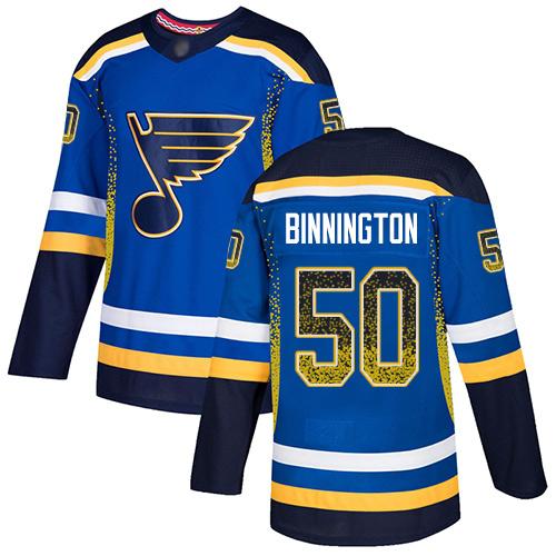 Blues #50 Jordan Binnington Blue Home Authentic Drift Fashion Stitched Hockey Jersey