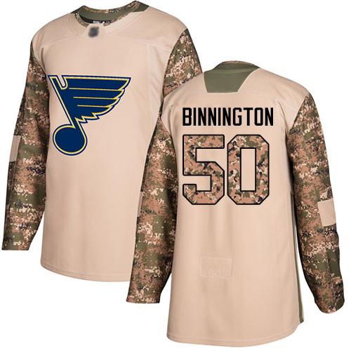 Blues #50 Jordan Binnington Camo Authentic 2017 Veterans Day Stitched Hockey Jersey