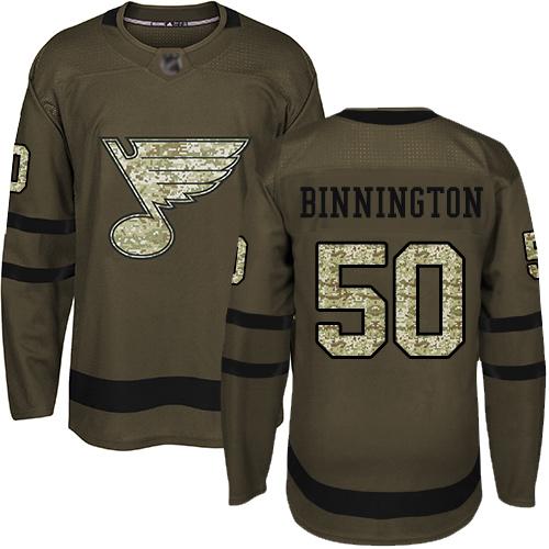 Blues #50 Jordan Binnington Green Salute to Service Stitched Hockey Jersey
