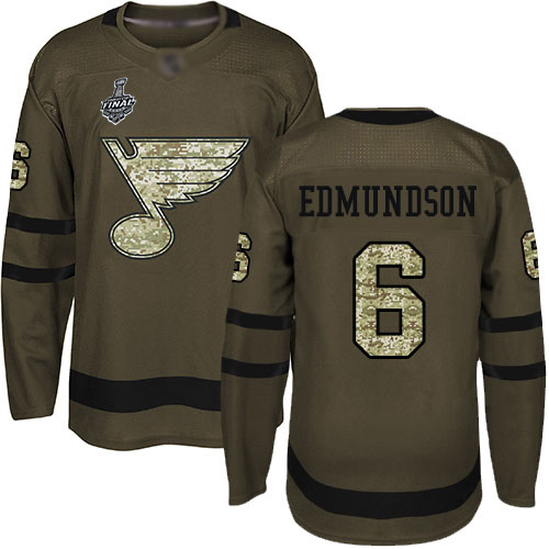 Blues #6 Joel Edmundson Green Salute to Service Stanley Cup Final Bound Stitched Hockey Jersey