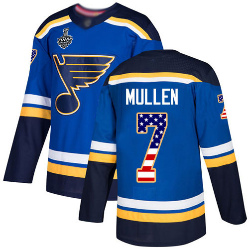 Blues #7 Joe Mullen Blue Home Authentic USA Flag Stanley Cup Final Bound Stitched Hockey Jersey