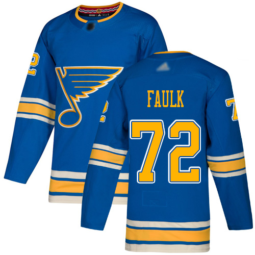 Blues #72 Justin Faulk Blue Alternate Authentic Stitched Hockey Jersey