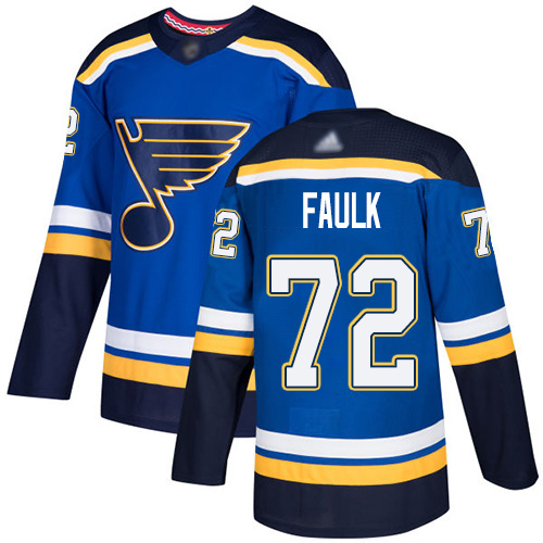 Blues #72 Justin Faulk Blue Home Authentic Stitched Hockey Jersey