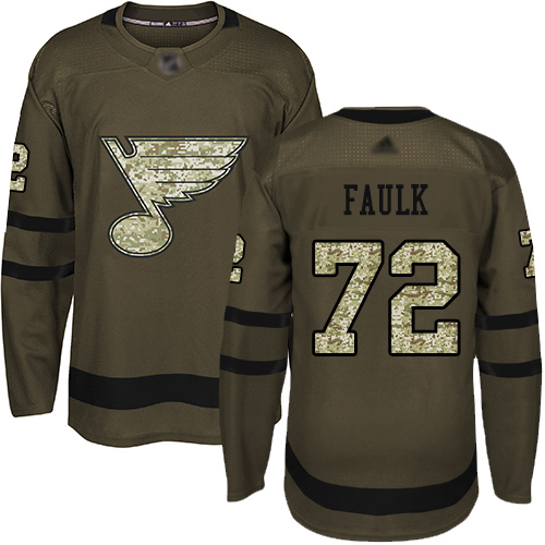 Blues #72 Justin Faulk Green Salute to Service Stitched Hockey Jersey
