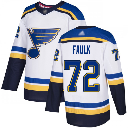 Blues #72 Justin Faulk White Road Authentic Stitched Hockey Jersey