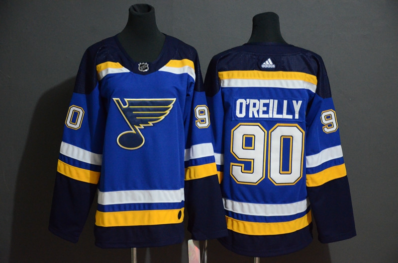 Blues 90 Ryan O'Reilly Blue Adidas Jersey