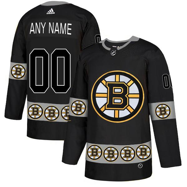 Boston Bruins Black Men's Customized Team Logos Fashion Adidas Jersey