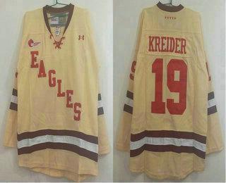 Boston College Eagles #19 Chris Kreider Yellow Stitched Hockey Jersey