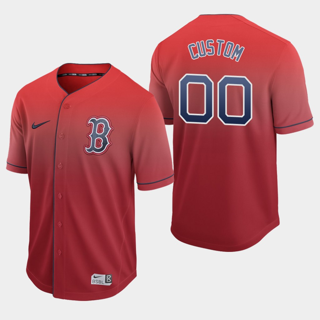 Boston Red Sox Custom Authentic Red Fade Jersey