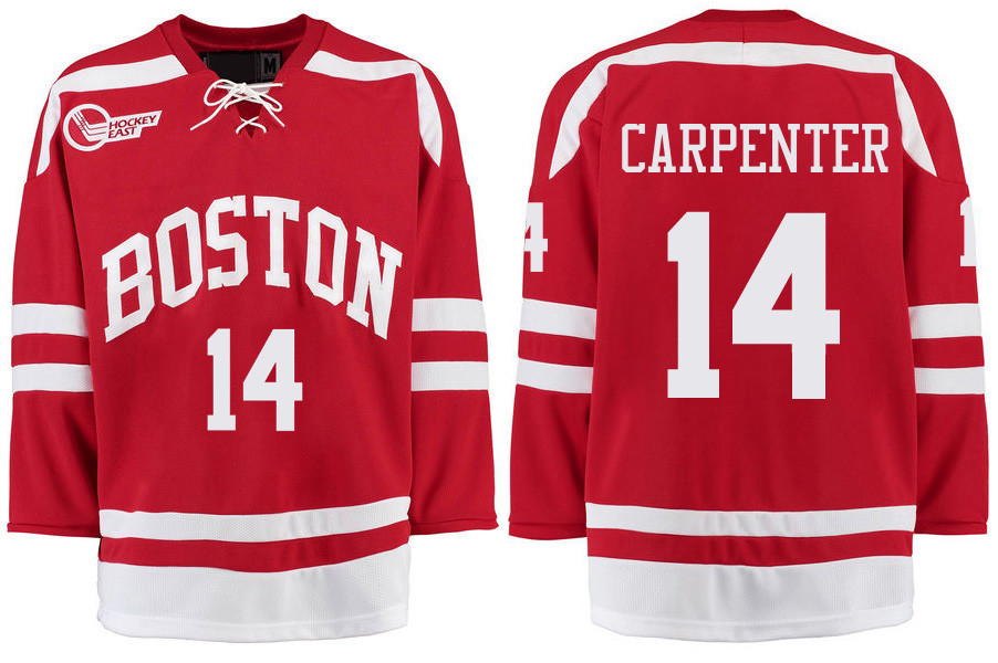 Boston University Terriers BU 14 Bobo Carpenter Red Stitched Hockey Jersey