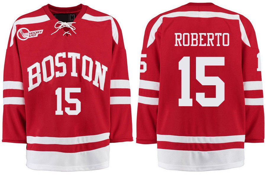 Boston University Terriers BU 15 Nick Roberto Red Stitched Hockey Jersey