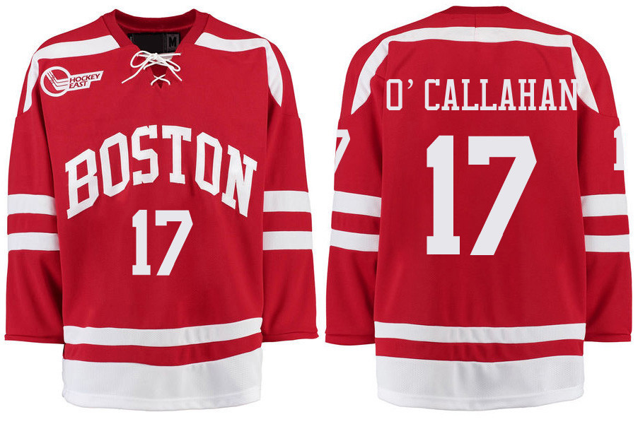 Boston University Terriers BU 17 Jack O'Callahan Red Stitched Hockey Jersey
